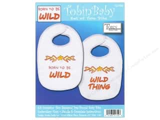 Captions Yarn & Needlework: Tobin Kit Stamped Baby Bibs Born To Be Wild 2pc