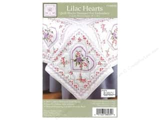 "Stamped Goods Stamped Quilt Tops: Tobin Stamped Quilt Block 18"" Lilac Heart 6pc"