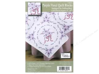 Tobin Stamped Quilt Block 18&quot; Purple Floral 6pc