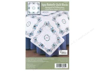 Tobin Stamped Quilt Block 18&quot; Aqua Butterflies 6pc