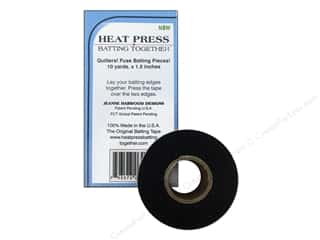 "Reflective Products Fabric Tape: Heat Press Batting Together Seam Tape 1.5""x 10yd Black"