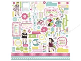 Carta Bella Caption Stickers / Frame Stickers: Carta Bella Sticker 12 x 12 in. True Friends Element (15 sets)