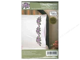 Stamped Goods Flowers: Tobin Stamped Pillowcase Violets 2pc