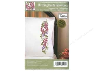 Stamped Goods $2 - $6: Tobin Stamped Pillowcase Bleeding Hearts 2pc