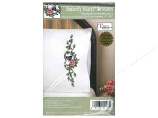 Tobin Stamped Pillowcase Butterfly Heart 2pc