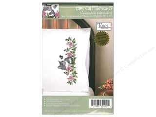 Stamped Goods Stamped Tablecloths: Tobin Stamped Pillowcase Garden Cat 2pc