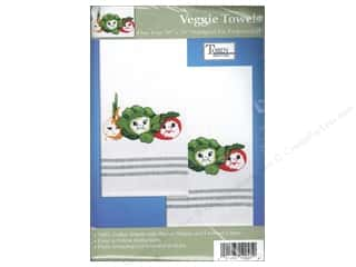 "Stamped Goods 28"": Tobin Stamped Towel 20 x 28 in. Striped Veggies"