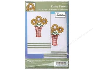 Tobin Stamped Towel 20x28 Striped Daisy