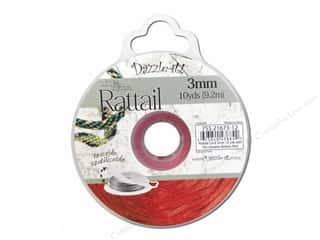Dazzle It Rattail Cord 3mm Red 10yd