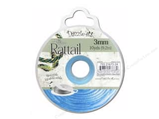 Cording Blue: Dazzle It Rattail Cord 3mm Aqua Blue 10yd