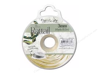 Dazzle It Rattail Cord 3mm Ivory 10yd