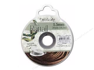 Black: Dazzle It Rattail Cord 1.5mm Light Chocolate 20yd