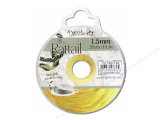 Dazzle It Rattail Cord 1.5mm Yellow 20yd