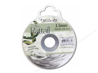 Dazzle It Rattail Cord 1.5mm Silver 20yd