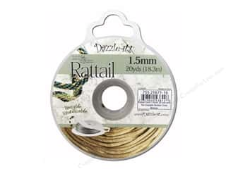 Jewelry Making Supplies Sewing & Quilting: Dazzle It Rattail Cord 1.5mm Gold Bronze 20yd
