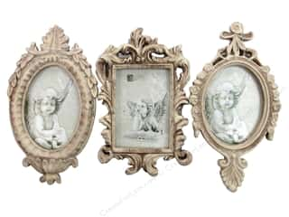 Graphic 45 Back To School: Sierra Pacific Frame Resin Open Back Assorted 3/Style Antique Cream (2 pieces)