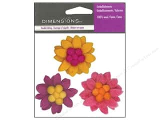 Wool Scrapbooking: Dimensions Wool Felt Embellishment Small Zinnias