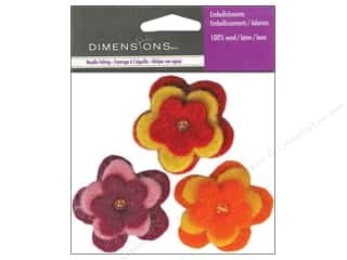 Beads Felting: Dimensions Wool Felt Embellishment Triple Daisies