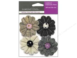 Dimensions: Dimensions Wool Felt Embellishment Neutral Flower Mix
