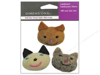 Wool Brown: Dimensions Wool Felt Embellishment Kitties
