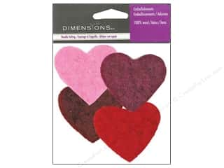 Dimensions Wool Felt Embellishment Multi Color Hearts