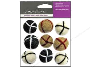 Dimensions Black: Dimensions Wool Felt Embellishment Neutral Embroidered Balls