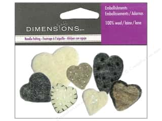 Dimensions: Dimensions Wool Felt Embellishment Heart Mix
