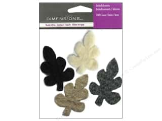 Dimensions Black: Dimensions Wool Felt Embellishment Neutral Leaves