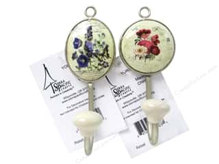 "Hooks Decorative Hooks: Sierra Pacific Decor Hook Ceramic Base Metal 4 3/8"" Assorted 2/Colors"
