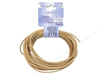 Cording Leather Cording: Dazzle It Leather Cord 2mm Round 5yd Natural