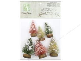 Ornaments $1 - $2: Melissa Frances Embellishments Mini Bottle Brush Trees Assorted 6pc
