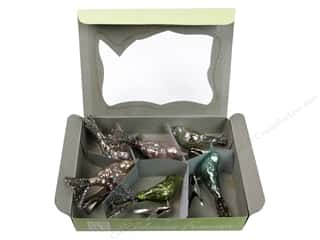 Melissa Frances Plastic / Resin / Acrylic / Glass Embellishments: Melissa Frances Glass Birds Clip On Ornaments Assorted 6pc