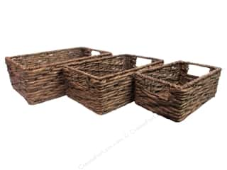 Home Decor Brown: Sierra Pacific Decor Basket with Handle Brown Set of 3