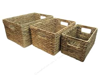 SPC Basket Rectangle with Inset Handle Set of 3