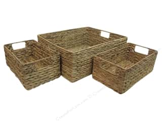 SPC Basket Rectangle with Handle & Frame Set/3 Nat