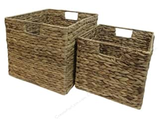 Handles $10 - $15: Sierra Pacific Decor Basket Square with Handle & Frame Set of 2 Natural