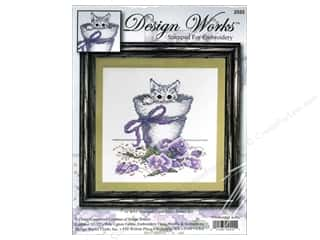 "Design Works Cross Stitch Kit 11x11"" Flwrpt Kitty"