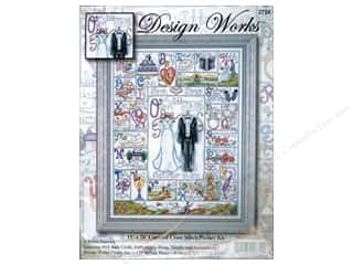 "square hoop: Design Works Cross Stitch Kit 15x20"" Wedding ABC"