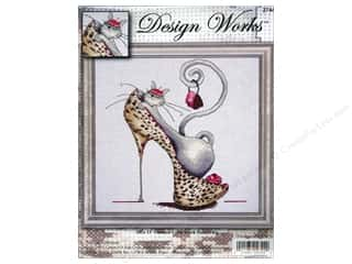 "Stitchery, Embroidery, Cross Stitch & Needlepoint Burgundy: Design Works Cross Stitch Kit 13""x 13"" Fashionista Cat"