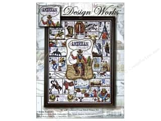 square hoop: Design Works Cross Stitch Kit 16 x 20 in. Cowboy Alphabet
