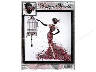 Cross Stitch Project Burgundy: Design Works Cross Stitch Kit 16 x 17 in. Birdcage