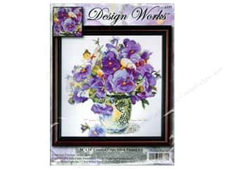 Design Works Cross Stitch Kit 14 x 14 in. Pansy Floral