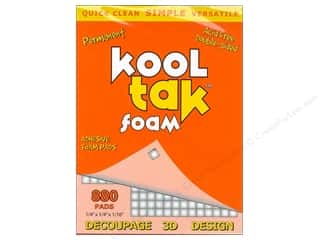 "Kool Tac Glues, Adhesives & Tapes: Kool Tak Foam 1/4""x 1/4""x 1/16"" White 880pc"