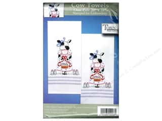 Baskets Yarn & Needlework: Tobin Stamped Towel 20 x 28 in. Striped Cow 2pc