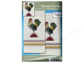 Stamped Goods Stamped Tablecloths: Tobin Stamped Towel 18 x 28 in. Homespun Rooster 2pc