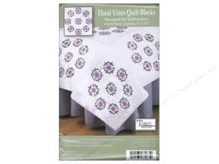 "Stamped Goods Stamped Tablecloths: Tobin Stamped Quilt Block 18"" Floral Vine"