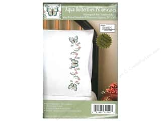 Lint Removers Projects & Kits: Tobin Stamped Pillowcase Aqua Butterfly 2pc