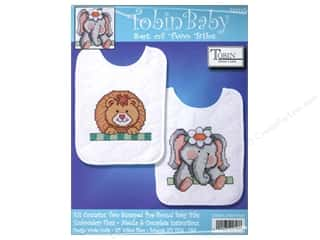 Tobin Kit Stamped Baby Bibs Noah&#39;s Ark 2pc