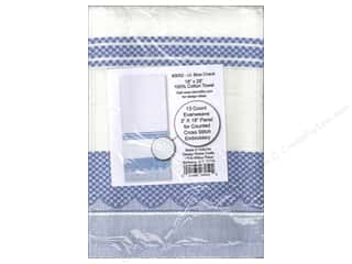 Design Works Crafts Yarn Kits: Design Works Cross Stitch Towel 100% Cotton Light Blue Check