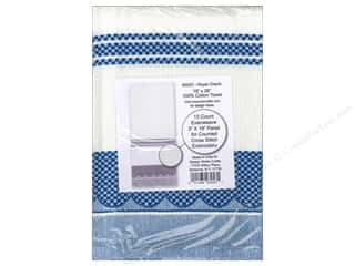 Design Works Crafts Blue: Design Works Cross Stitch Towel 100% Cotton Royal Check